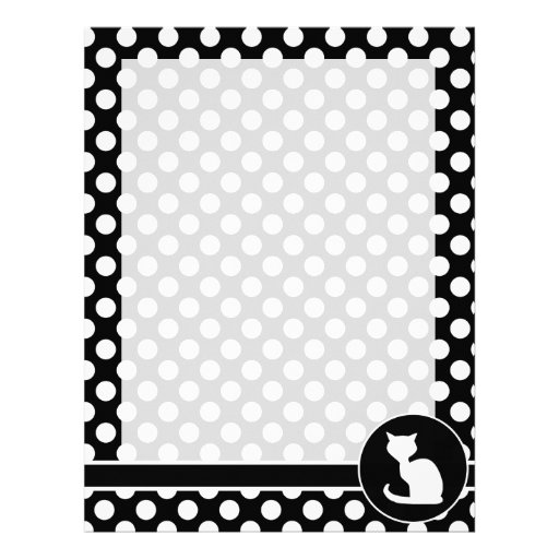 White Cat on Black and White Polka Dots Personalized Letterhead