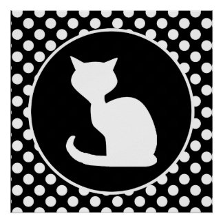 White Cat on Black and White Polka Dots Poster