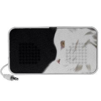 White cat on black background digital art travel speaker