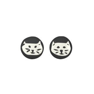White Cat On Black Background Earrings