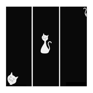 White Cat on Black Background Triptych