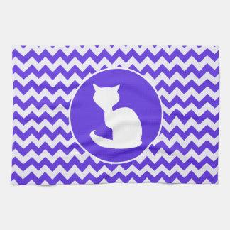 White Cat on Blue Violet Chevron Kitchen Towel