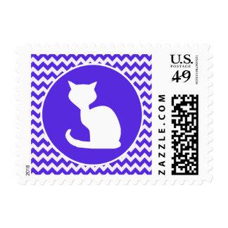 White Cat on Blue Violet Chevron Postage