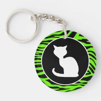 White Cat on Bright Neon Green Zebra Stripes Keychains