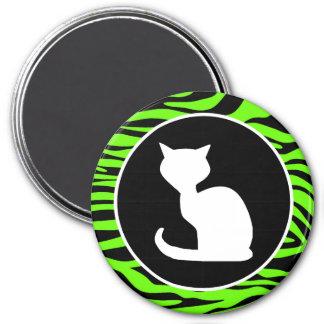 White Cat on Bright Neon Green Zebra Stripes Fridge Magnets