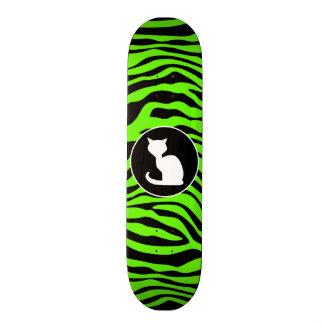 White Cat on Bright Neon Green Zebra Stripes Skate Boards