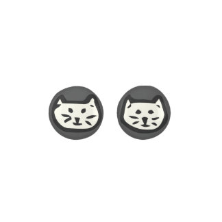 White Cat On Charcoal Gray Background Earrings