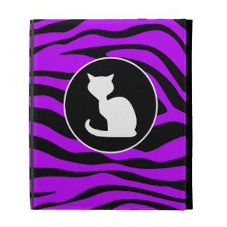White Cat on Electric Purple Zebra Stripes iPad Folio Cases