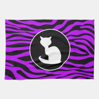 White Cat on Electric Purple Zebra Stripes Kitchen Towel