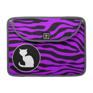 White Cat on Electric Purple Zebra Stripes MacBook Pro Sleeve