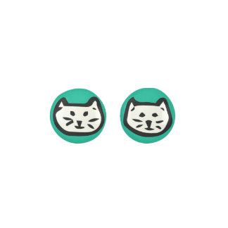 White Cat On Emerald Green Background Earrings