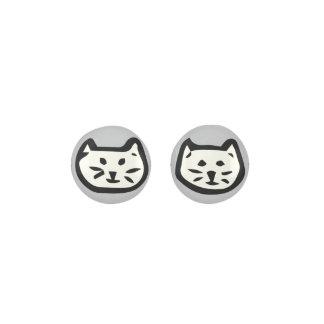 White Cat On Gray Background Earrings