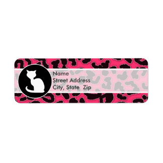 White Cat on Hot Pink Leopard Print Label