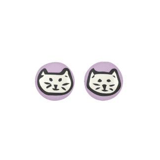 White Cat On Light Purple Background Earrings