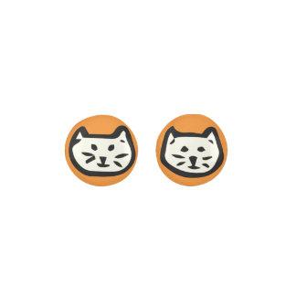 White Cat On Orange Background Earrings