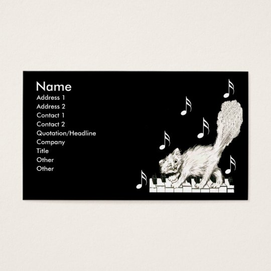 White Cat on Piano Keys Business Card