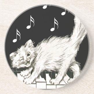 White Cat on Piano Keys Coaster