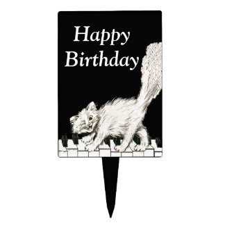 White Cat On Piano Keys Music Notes Birthday Cake Toppers