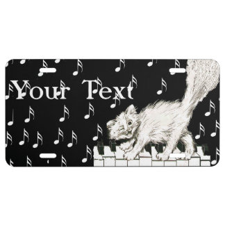 White Cat on Piano Keys Music Notes License Plate