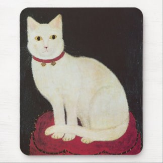 White cat on red cushion mouse pad