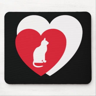 White cat on red & white hearts, black background mouse pad