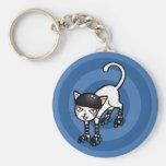 White cat on rollerskates basic round button keychain