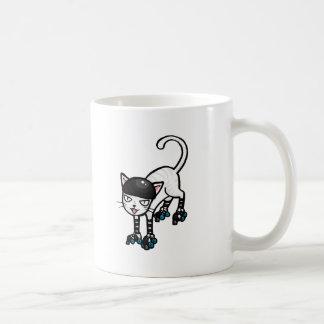 White cat on rollerskates classic white coffee mug