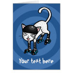 White cat on rollerskates customisable template cards