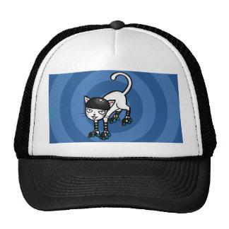 White cat on rollerskates cap
