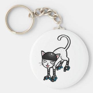 White cat on rollerskates keychain