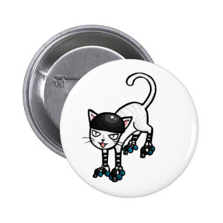 White cat on rollerskates pinback button