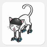 White cat on rollerskates sticker