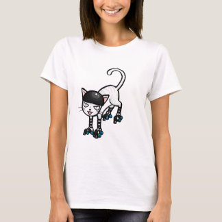 White cat on rollerskates T-Shirt