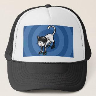White cat on rollerskates trucker hat