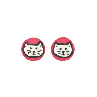 White Cat On Ruby Red Background Earrings