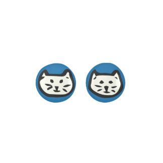 White Cat On Sapphire Blue Background Earrings