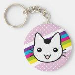 white cat polka dots basic round button keychain
