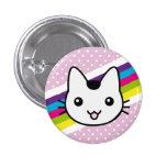 white cat polka dots button