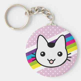 white cat polka dots keychain