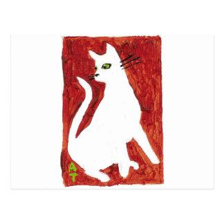 White cat postcard