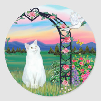 White Cat - Rose Arbor Classic Round Sticker