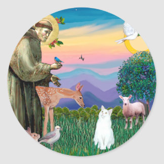 White Cat - Saint Francis Classic Round Sticker