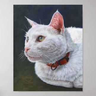 White Cat Shiro Painting Art by ArtByAkiko Poster