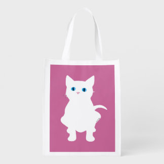 white cat silhouette grocery bags