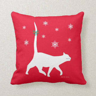"""""""White Cat Snow Walk"""" Red Holiday Throw Pillow"""