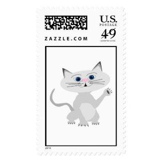 White Cat Stamp