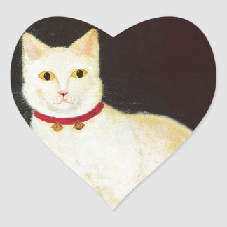 White Cat Heart Sticker