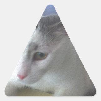 White Cat Table Triangle Sticker