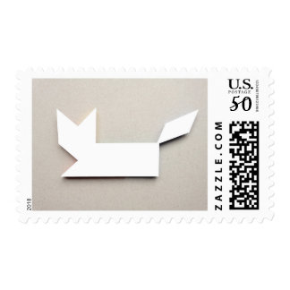 White cat Tangram Postage