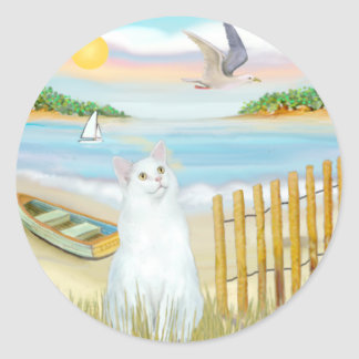 White Cat - The Rowboat Classic Round Sticker